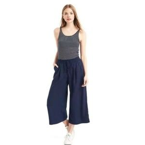 Gap Drapey Cropped Wide Leg Navy Uniform Pants